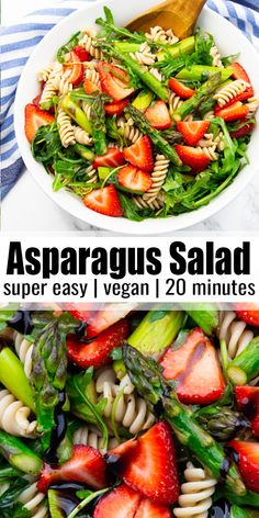 This asparagus strawberry salad with pasta and balsamic dressing is the perfect spring recipe! I love to bring the asparagus pasta salad with me for. Best Asparagus Recipe, Asparagus Salad, Baked Asparagus, Vegan Asparagus Recipes, Spinach Salads, Crab Salad, Best Pasta Salad, Pasta Salad Recipes, Recipes