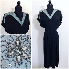 Original vintage 1940's beaded collar black crepe cocktail dress. Size: Small Please read our store policies before purchasing . This is a beautiful original 1940's dress in amazing condition waiting for its new 40's style lover. It is black crepe with no facings. It has pale