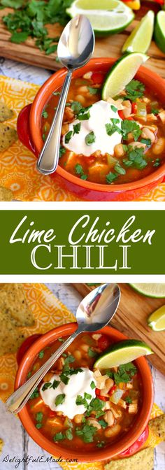 Lime Chicken Chili | The perfect healthy dinner idea for when you want something hearty, flavorful and comforting!  Such a great soup recipe!