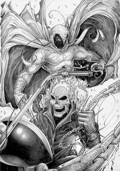 Ghost Rider and Moon Knight by Carl-Riley-Art on Marvel Comic Books, Marvel Art, Comic Book Heroes, Marvel Heroes, Comic Books Art, Marvel Moon Knight, Ghost Rider Marvel, Arte Nerd, Nerd Art