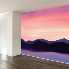 Paul Moore Removable Mural   Rocky Mountain Sunset   WallsNeedLove
