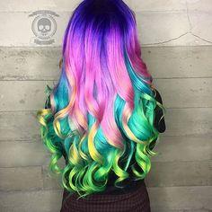 Read More About Purple pink rainbow dyed hair color inspiration Monika Charleston. Rainbow Dyed Hair, Dyed Hair Pastel, Pelo Multicolor, Coloured Hair, Hair Dye Colors, Unicorn Hair, Mermaid Hair, Gorgeous Hair, Hair Designs