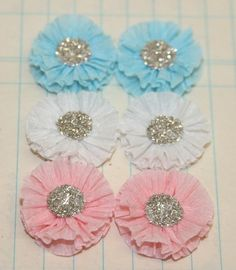 6 Small Crepe Paper Rosettes Pastel Colors by luckygirlgoods, $3.45