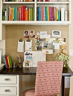 I like how they have the neat cork board in front with the book shelf overtop. Save some space.