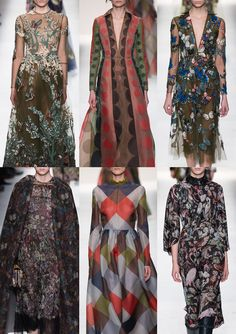 Paris Fashion Week – Autumn/Winter 2014/2015 – Print Highlights – Part 3 catwalks  Richly Embroidered Tulle – Exotic Birds and Trees – Fluttering Butterfly Wings  - Exquisite Botanical Florals – Dark Backgrounds – Subtle Colourings – Harlequin Patchwork – Fantastical Animal Prints