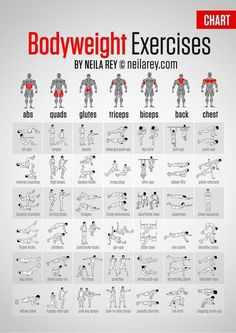Bodyweight Exercises Chart - detailed chart with illustrations showing possilbe bodyweight exercises for use with a fitness plan or workout. Great for weight loss without a gym.: #weightlossalcohol,