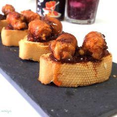 Tapa de chistorra con mermelada.   Blog de recetas de cocina casera. Gastronomía.