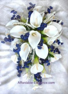 White & Navy Blue CALLA LILY Lilies Cascade Bridal BOUQUET Silk Wedding Flowers