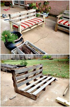How To Turn A Pallet Into An Outdoor Patio Bench - 110 DIY Backyard Ideas to Try Out This Spring & Summer - DIY & Crafts