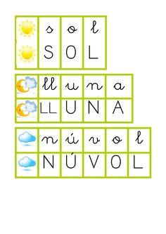 Material creat per Cristina Sotoca on, després de confegir la paraula amb agulles d'estendre, poden comprovar-ne el resultat.