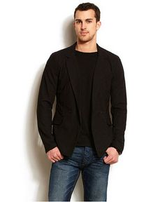 Men's Sports Jacket with Jeans | Blazer for men with jeans pictured: Armani Exchange Mens Double ...