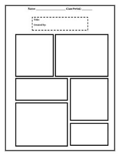 Comic strip worksheets new calendar template site for Printable blank comic strip template for kids