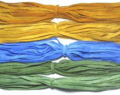 Rug Hooking Wool Strips Moss Green, Woodland Gold, Sky Number 8 Dorr Wool Hand Dyed New