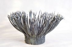 TADECO home papyrus vase made from Abaca fibers with silver wires