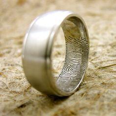 Thumb Print Wedding Ring in 14K White Gold