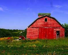 Such a bright red for this nice old barn!
