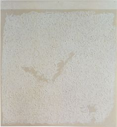 """Robert Ryman: Versions VII, 1991. Oil on fiberglass with wax paper, 44-1/4 x 41"""" (112.4 x 104.2 cm)."""