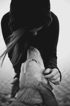 a girl and her dog. Always have a special bond.