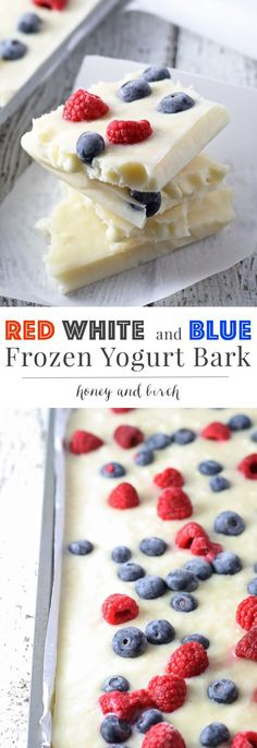 Looking for a fun patriotic dessert that is a little healthier? Try this red white and blue frozen yogurt bark. It's full of berries and sweetened with honey for a perfect holiday dessert!   honeyandbirch.com