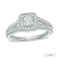 Vera Wang LOVE Collection 3/4 CT. T.W. Princess-Cut Diamond Vintage-Style Engagement Ring in 14K White Gold