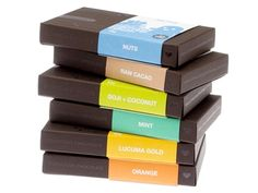 Conscious Chocolate - no diary, no gluten and no soy! Cannot wait to try Goji + Coconut and Mint! YUMMM!