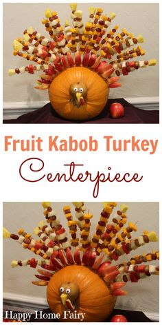 turkey-fruit-kabob-centerpiece-from-happy-home-fairy Looking to add a little awesome to your Thanksgiving table this year? How about a Fruit Kabob Turkey? Thanksgiving Fruit, Thanksgiving Centerpieces, Thanksgiving Parties, Thanksgiving Appetizers, Thanksgiving Recipes, Holiday Recipes, Hosting Thanksgiving, Thanksgiving Traditions, Thanksgiving Birthday