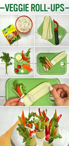Make Easy Vegetable Dip Rolls for the best Back to School kiddie snack! Follow these simple steps: 1. Combine 1 package of Knorr® Vegetable recipe mix, 1/2 cup of mayonnaise, and one container of sour cream in a medium bowl. Cover and chill for 2 hours to blend flavors. 2. Chop the ends off of your zucchini and use a vegetable peeler to peel into long, thin strips. Lay flat, add a small spoonful of mixture,  and a few matchsticks of veggies onto one of the ends. 3. Roll up and enjoy!