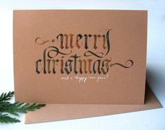 Calligraphy Christmas Cards by Alice Young, via Behance Unique Christmas Cards, Xmas Cards, Rustic Christmas, Christmas Art, Simple Christmas, Handmade Christmas, Holiday Cards, Christmas Paintings, Christmas Ideas