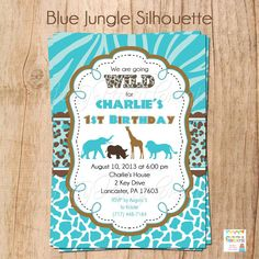 BLUE JUNGLE SILHOUETTE invitation  Baby by PrettyPartyCreations, $11.50