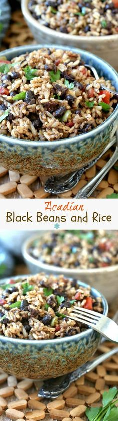 Acadian Black Beans and Rice is an updated version of the red beans and rice classic. Made with a variety of spices popular in Cajun communities of Louisiana. Easy and spicy! Mexican Food Recipes, Whole Food Recipes, Vegetarian Recipes, Cooking Recipes, Healthy Recipes, Rice Recipes, Easy Recipes, Easy Meals, Recipes