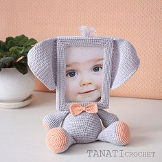 Crochet Pattern of Photo Frame ELEPHANT Tutorial PDF file