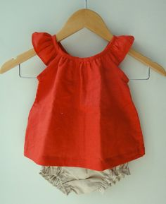 Linen Baby Girl Burnt Orange Christmas Dress and by bluedaisywares, $35.00