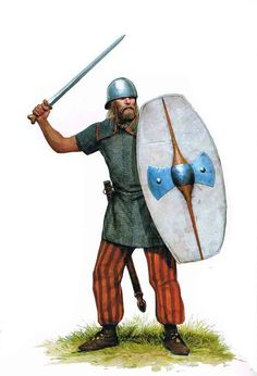 Celtic swordsman. Note the long bladed sword, Port helmet and spindle spined shield with axehead shaped boss.