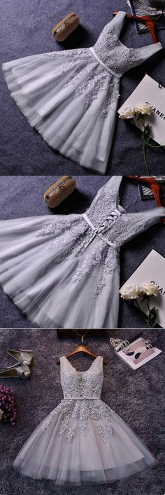 Grey tull lace appliqued homecoming dress,short prom dress