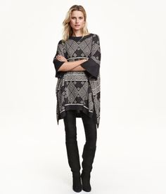 Check this out! CONSCIOUS. Soft, fine-knit poncho with wool content. 3/4-length sleeves and high slits at sides. Polyester content is recycled. - Visit hm.com to see more.