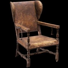 Monumental Leather Wingback Recliner :: Obsolete Milking Stool, Old Chairs, Stools, Recliner, Mad, Country, Antiques, Leather, Furniture