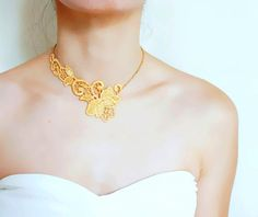 SALE gold/white lace choker necklace// pearl charm by LaceFancy