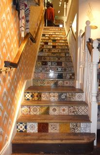 White Stuff in York have decorated the staircase with a collection of original Victorian tiles.