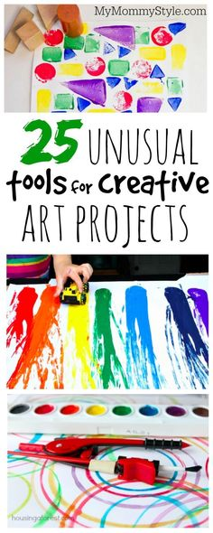 25 unusual tools for creative art projects art projects for toddlers, group art projects, Creative Curriculum Preschool, Preschool Art Projects, Toddler Art Projects, Toddler Crafts, Projects For Kids, Crafts For Kids, Art Projects For Kindergarteners, Art Project For Kids, Process Art Preschool