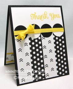 handmade Thank You Card from Paper Crafts Ideas ... black and white with pops of bright yellow ... patterned paper and circles ... luv the bold graphic look and the perfect yellow bow ... Stampin' Up!