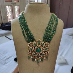 Emerald beads necklace designs with lakshmi pendnat , ganesh pendant multi layered emerald long chain designs Antique Jewellery Designs, Gold Jewellery Design, Bead Jewellery, Beaded Jewelry, Beaded Necklace, Gold Jewelry, Emerald Jewelry, Pearl Jewelry, Jewelery