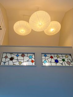 The hallway was opened up to the rafters and the leaded glass windows were designed for colourful illumination. Windows, Ceiling Lights, Rafter, Boho Vibe, How Beautiful, Lights, Beautiful Lighting, Glass, Leaded Glass