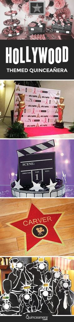 Super Party Themes Hollywood Center Pieces 55 Ideas – – - New Site Hollywood Thema, Hollywood Party, Red Carpet Theme Party, Quince Themes, Quince Ideas, Kids New Years Eve, Sweet 16 Themes, Quinceanera Themes, Sweet 16 Parties