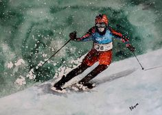 Olympic USA Skier  Watercolor Painting 2014 Sochi by pinetreeart