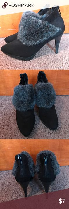 Ankle boots New without a box! Were giving as a gift, not my style, hoping someone else might like them. The Shoe is black and the fur is grey/black. Heel 4 in. Velvet Heart Shoes Ankle Boots & Booties