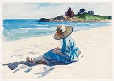 """(Jo Sketching at Good Harbor Beach), Edward Hopper, 1923-24, watercolor and fabricated chalk on paper, 13 7/8 × 19 15/16"""", Whitney Museum of American Art."""