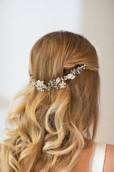 Wedding hair vine, floral hair vine, bridal hair accessory - new Bridal Hair Down, New Bridal Hairstyle, Bridal Hair Vine, Hair Comb Wedding, Wedding Hairstyles, Bridal Hairpiece, Bijou Brigitte, Glamorous Hair, Bride Hair Accessories