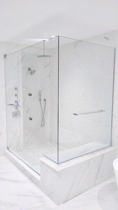 Another spectacular frameless shower enclosure that we just recently installed! It is a luxurious bathroom transformation that looks like a million bucks! Bathroom Shower Enclosures, Master Bathroom Shower, Frameless Shower Doors, Bathroom Showers, Modern Bathroom Faucets, Ensuite Bathrooms, Dream Bathrooms, Luxury Shower, Luxury Bath