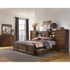 Wolf Creek King Storage Bed with Lingerie Chests in Vintage Acacia | Nebraska Furniture Mart