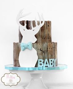 """Deer themed baby shower cake! Baby shower cake for deer hunter with """"faux"""" fondant wood! #huntercake #deercake #deerhuntercake"""